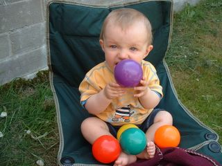 Cousin James eating the juggling balls