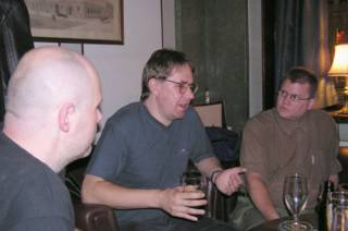 Jouni and J-P listening to Alastair Reynolds in Old Bank