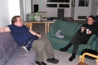 Jukka Halme and Ben Roimola sitting on the sofa