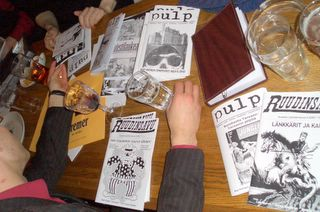 A view of the table, with quite many fanzines showing