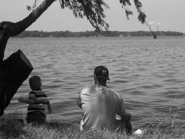 Grant and Dad chillin' at the lake!