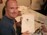 Buckingham posando con mi dibujo