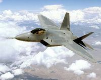 ABOVE THE MOJAVE DESERT -- The Air Force's new superiority fighter will dominate the future air combat arena by integrating advanced avionics, stealth and supercruise. With approximately 80 percent of development complete and two test aircraft flying, the F/A-22 Raptor program is nearing completion of a 13-year development program. (U.S. Air Force photo Judson Brohmer)