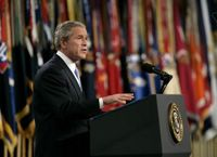 President George W. Bush delivers remarks on the war on terror at Fort Bragg, North Carolina, Tuesday, June 28, 2005. White House photo by Eric Draper