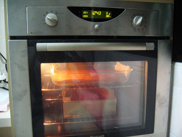 Brownies baking in oven