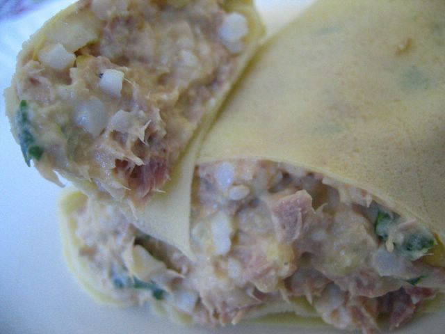 rice crepe with cheese, egg, tuna and corn