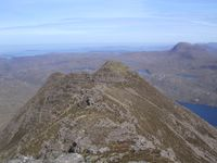 Looking back down the Beinn Dearg Bheag summit ridge