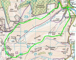 Route goes up Grisedale Pike first and finishes coming off Barrow