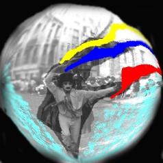 foto artistica de carlos neri a un mimo enarbolando una bandera