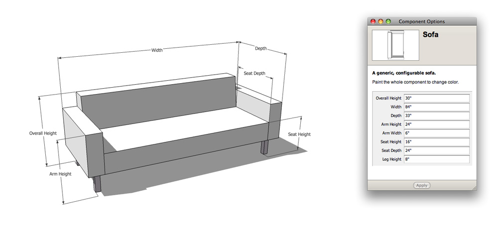 Retired sketchup blog the nerdiest sofa shopping tool ever Standard loveseat dimensions