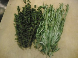 Preparing rosemary and thyme at Boxwood Caf