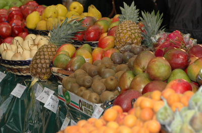 Fresh fruit from all over the world in abundance