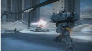 A Battle-walker takes on an enemy speeder on the 'Bridge at Remegen' map in the Northern Strike expansion.