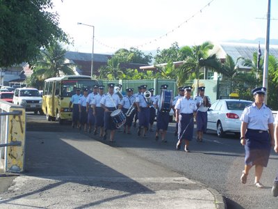 Morning flag raising parade