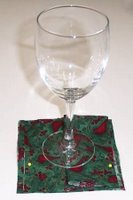Elegant Wine Glass Coasters embroidery