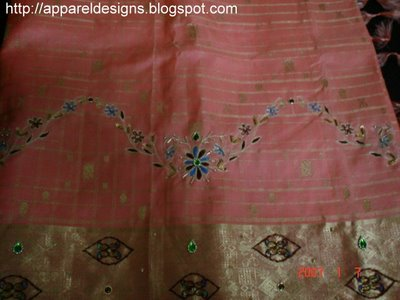 Aari Embroidery On Saree With Zardosi Work