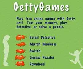 GettyGames Menu (screenshot detail 2007)