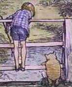 E.H. Shepard - Christopher Robin and Pooh play Poohsticks