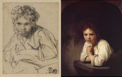 Rembrandt - Drawing and painting Girl At A Window (1645) drawing © The Samuel Courtauld Trust, Courtauld Institute of Art Gallery