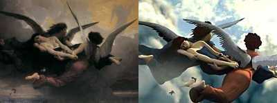 Bouguereau's Angels (left) Game Screenshot (right)