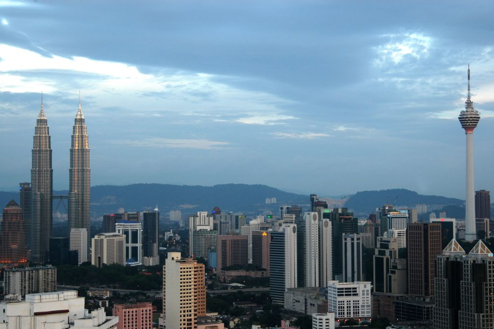 Kuala Lumpur skyline including the famous Petronas Twin Tower and KL Tower