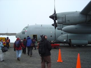 boarding the C-130