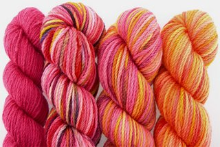 Koigu's Kersti Yarn in shades of red
