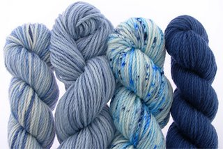 Koigu's Kersti Yarn in shades of blue