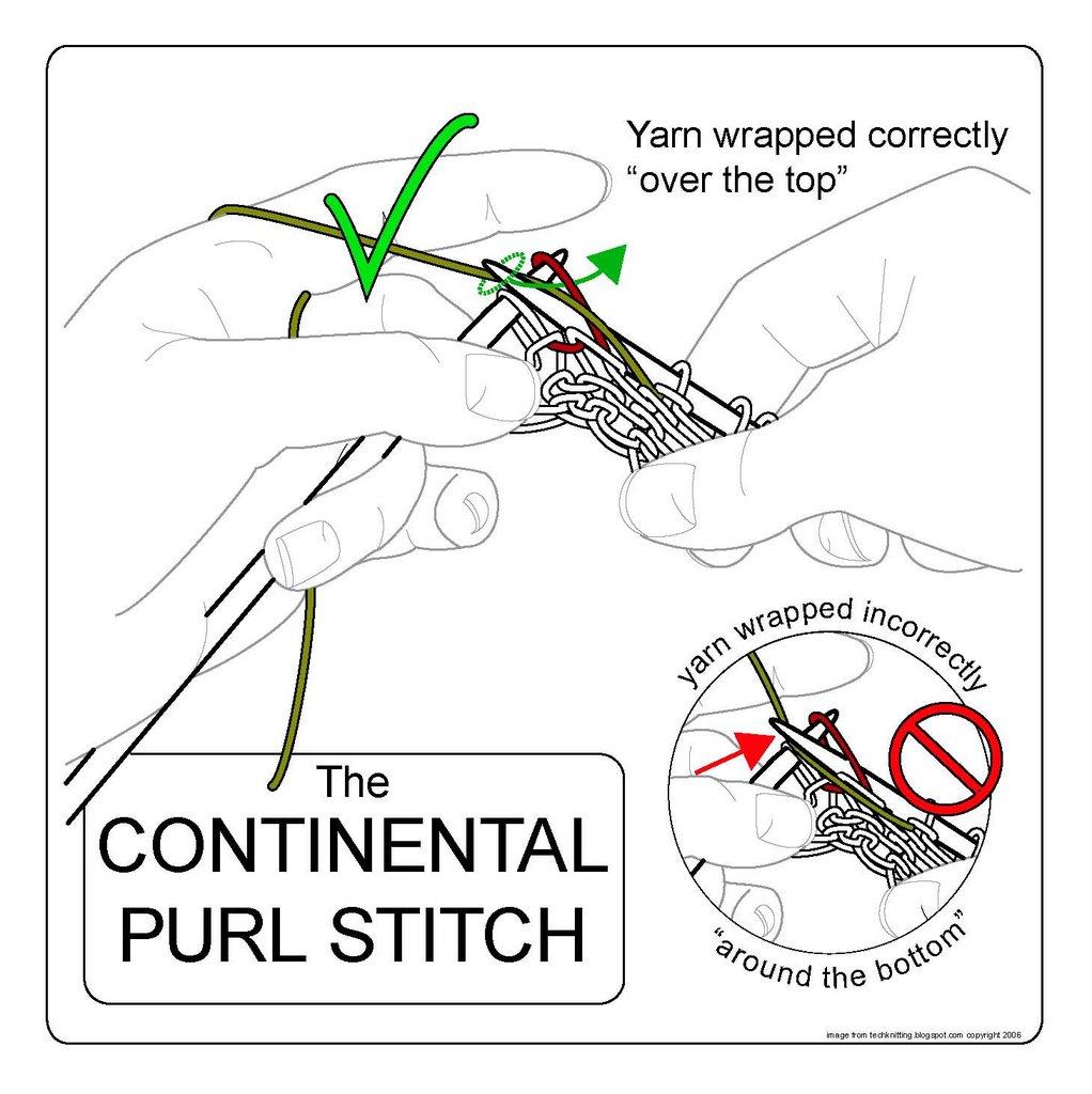 TECHknitting: The continental purl stitch