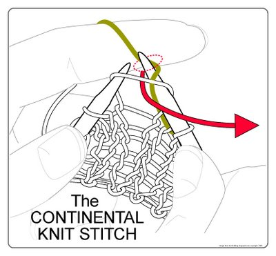 continental knit stitch, step 1