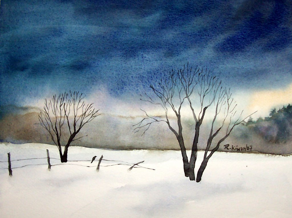 From the land of the cedars maine watercolors winter scene for Watercolor scenes beginners