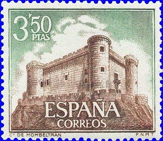 Sello de correos con el castillo de Mombeltrán (Ávila), propiedad de los duques de Alburquerque
