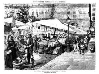 La Plaza Mayor en Pascuas de Navidad, dibujo de D. Araujo (1886)