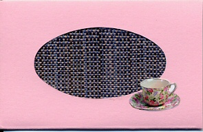 Small pink card with handwoven inset of pink & navy with teacup sticker.