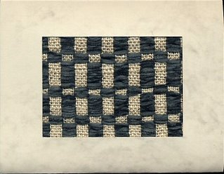 Marbled card with handwoven Monk's belt inset of cotton & cotton chenille.