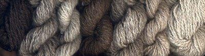 My handspun North Ronaldsay yarns in a range of colors.