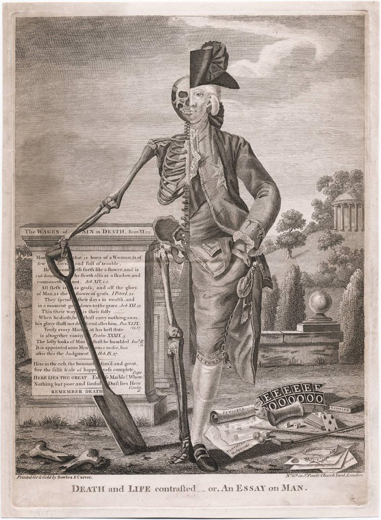 morbid anatomy   death and life contrasted or an essay on man undated 1750 1770