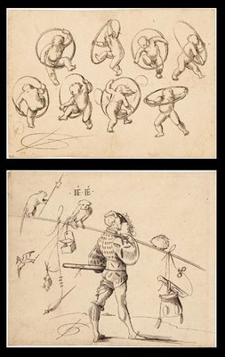 Satirical farmhand and babies playing with hoops