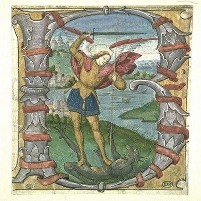 La lettre 'B' historiée, avec Saint Michel Combattant le Dragon'