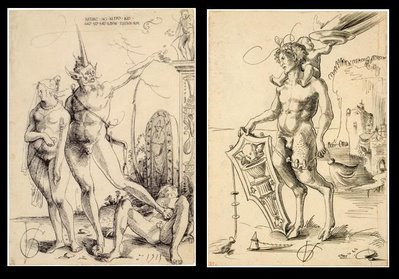 Satyr with woman and Satyr by the sea