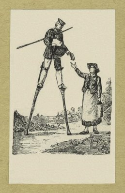 Letter carrier on stilts handing a letter to a woman