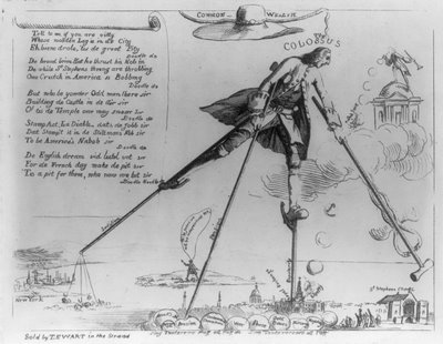 Satirical cartoon about the Stamp Act of 1765