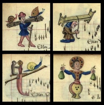 Humorous illuminated manuscript miniatures