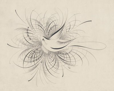 calligraphic bird