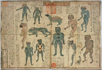 Frog-like men and monsters from National Diet Library in Japan