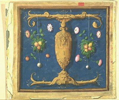 Lettre T formée d'un vase allongé et de mascarons