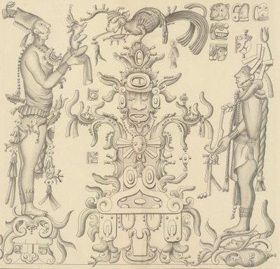 Mayan subjects at altar with offerings