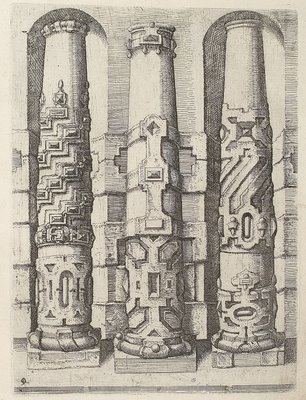 Tuscan column architecture in mannerist/baroque style