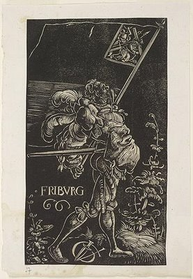 Standard Bearer in white-line woodblock print