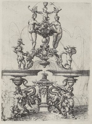 Engraving by Dietterlin of mannerist ionic architecture